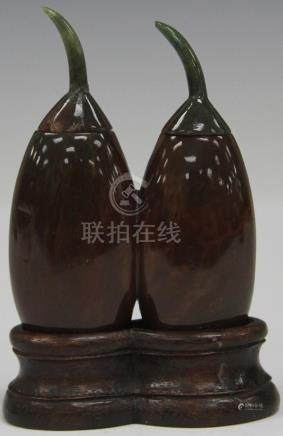 CHINESE AGATE DOUBLE SNUFF BOTTLE W/ STAND