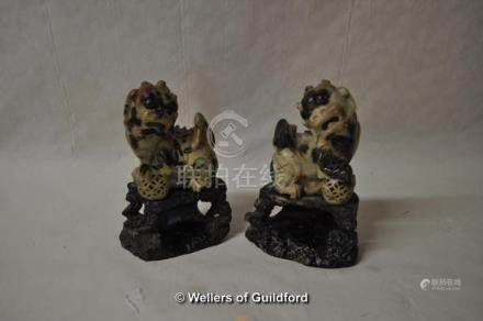 """*Pair of Chinese soapstone Dogs of Fo, 5.5"""" and three bone animals (Lot subject to VAT)"""