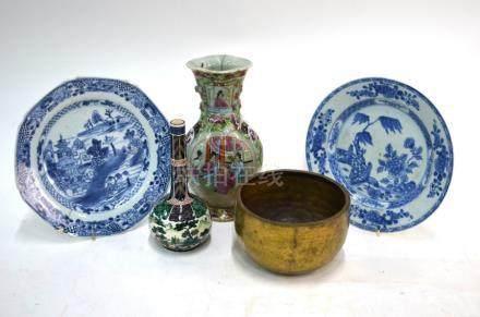 An Ao-Kutani bottle vase, 18 cm high; a Canton famille rose vase, 23 cm high; an Asian metal gong,