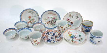 A quantity of Chinese Export Porcelain, comprising: two Chinese Imari coffee cups; a pair of famille
