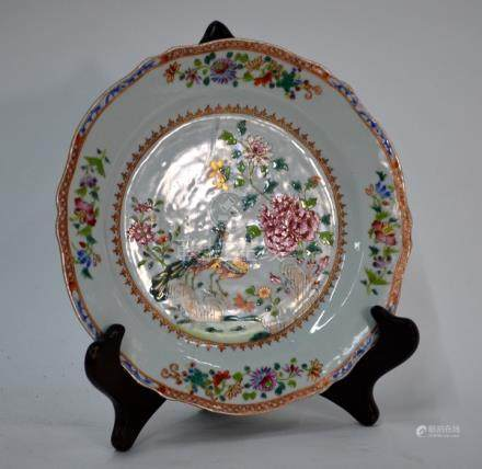 A Double Peacock, famille rose plate with foliate rim, presumably from a similar service to that