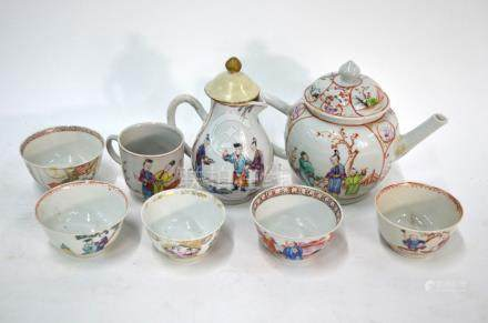 A quantity of Chinese Export Porcelain, comprising: a famille rose teapot and domed cover; a milk
