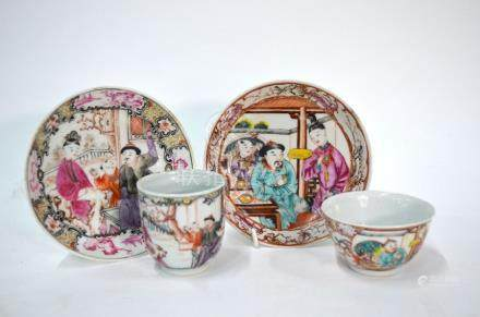 A Chinese Export teabowl and saucer, each one decorated with a Manchu/Chinese scholar with his