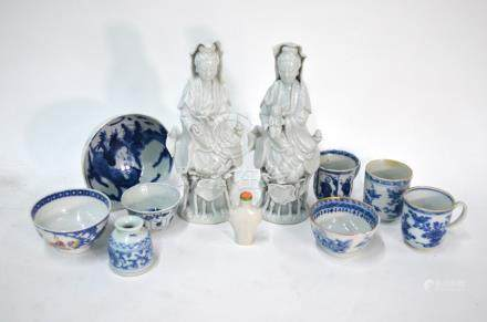 Two Blanc-de-Chine figures of The Bodhisattva, Guanyin, each one seated on a lotus base, both