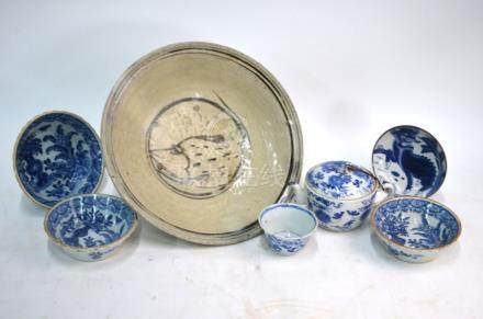 Seven items of Asian blue and white, comprising: a Vietnamese, or other Asian, dish, 25 cm diameter;