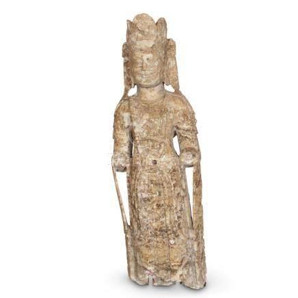 Handsome Chinese Stone Standing Bodhisattva,