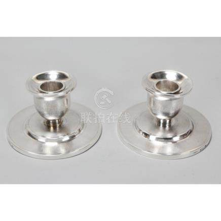 Pair of Chinese Silver Squat Candlesticks,