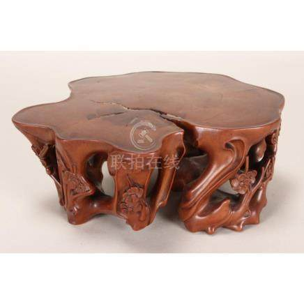 Stunning Chinese Carved and Polished Boxwood Stand
