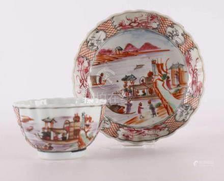 A porcelain 18Mandarine 19 cup and saucer, China 18th centur