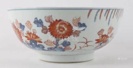 A Chinese Imari bowl, China leaves Kangxi, ca. 1720.