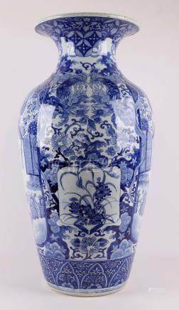 A baluster-shaped blue / white porcelain vase, China, Qianlo
