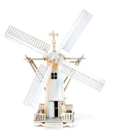 An ivory minature of a Dutch windmill, China around 1900