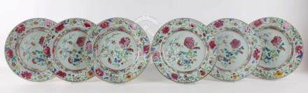 Six famille-rose plates, China, Qianlong, mid-18th century.