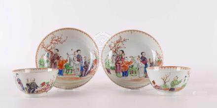 Two Chinese porcelain cups and saucers, so called Mandarin p