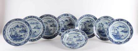 A series of eight blue / white porcelain deep plates, China,