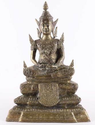 A bronze seated Buddha, 19th century
