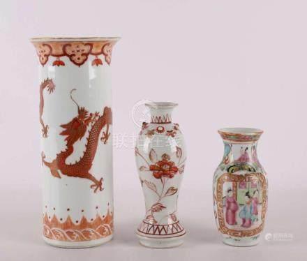 A cylindrical porcelain vase, China 19th century.