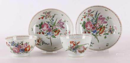 Two porcelain cup and saucers, China, Qianlong, 18th century