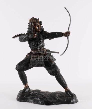A dark patinated bronze sculpture of Japanese samurai, late