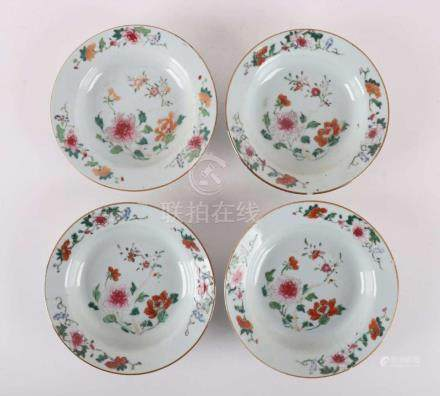 Four porcelain famille-ros plates, China, Qianlong, mid-18th