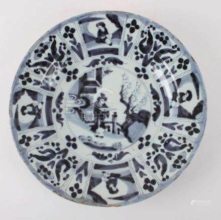 A blue under glaze decorated earthenware dish, after Wan Li,
