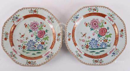 A set of octagonal porcelain famille rose plates, China, Qia