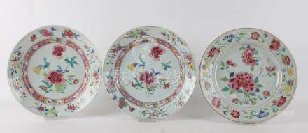 Three famille-rose plates, China, Qianlong, mid 18th century