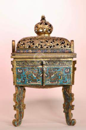 Important Chinese Ming Cloisonne Fang Ding