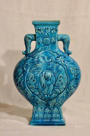 Chinese Turquis Moonflask Porcelain Vase with Immortal