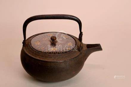 Japanese Iron Teapot with Lacquer Lid and Silver Wire
