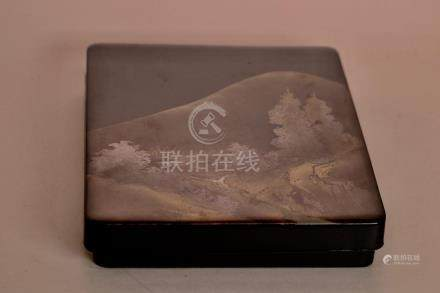Japanese Lacquer Box with Landscape Scene