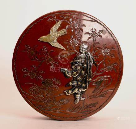 Japanese Mixed Metal Round Box with Lohan