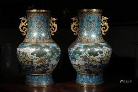 A PAIR OF CLOISONE ENAMEL VASES, QIANLONG MARK