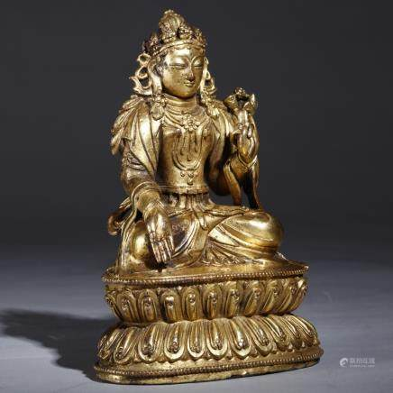 A TIBET GILT BRONZE FIGURE OF TARA