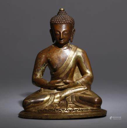 A TIBET GILT-BRONZE FIGURE OF TARA