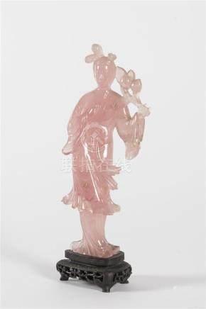 Chine, gua nin en quartz roseH: 22 cm