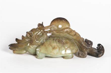 CHINE sculpture en jadeite dragon et tortueL : 23cm