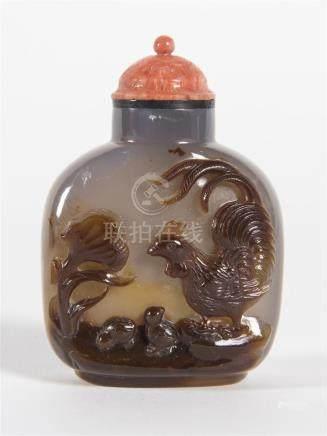 Chine,Tabatière en agate sculptée en relief d'une scène représentant un coq et