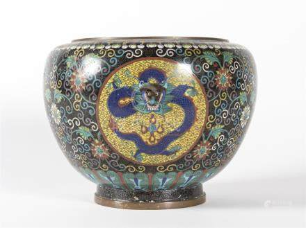 Chine Cache pot en bronze cloisonnéH : 19 cmD : 24 cm
