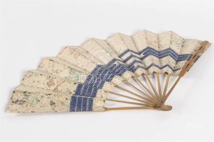 JAPON Eventail de théâtre MeijiBambou peint avec son étui en soie