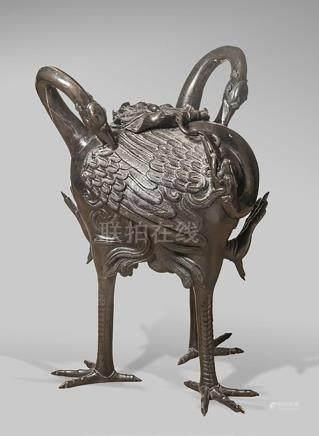 GRAND BRÛLE-PARFUM en bronze japonais d'époque fin Edo, mili