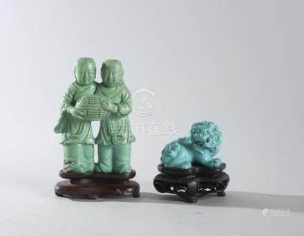 ENSEMBLE composé de deux statuettes en turquoise sculptées r