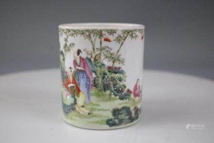 A Famille Rose Brush Pot With Human Pattern