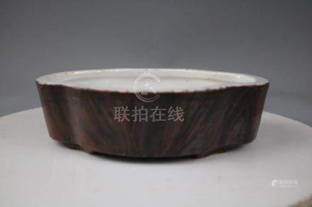 Qianlong Mark,A Wood Glazed Brush Washer