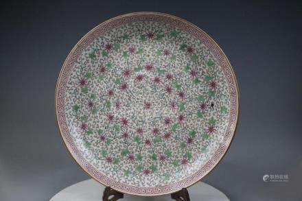 Tongzhi Mark,A Famille Rose Plate