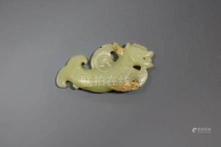 A Hetian Celadon Jade 'Yuhualong'-Form Pendant