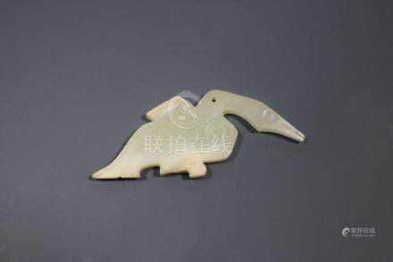A Pair Of Hetian White Jade Goose-Form Pendants