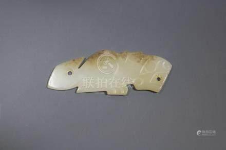 A  Hetian White Jade Tiger-Form Pendant