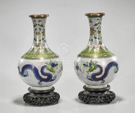 Pair Antique Chinese Cloisonne Enamel Vases