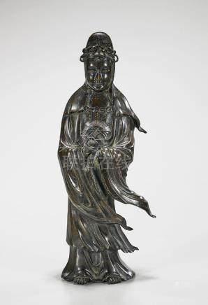 Antique Chinese Bronze Standing Figure of Guanyin